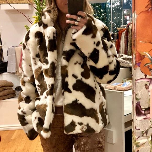 Jackets & Blazers - Faux Fur Cow Print Coat